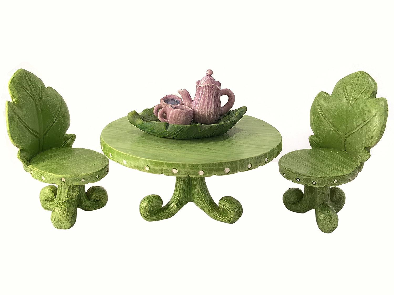 GlitZGlam Kit de Muebles para jardín para Hadas en Miniatura: Juego de Mesa de Hojas con Juego de té para Hadas y gnomos de jardín: Amazon.es: Jardín