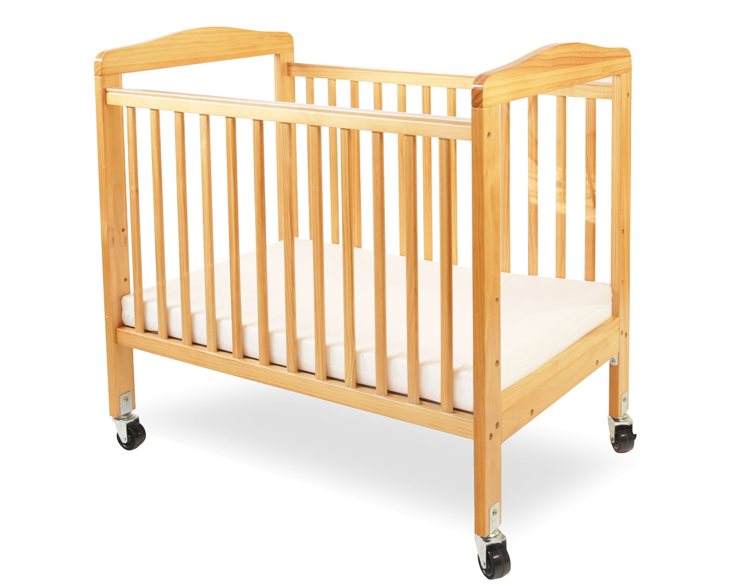 LA Baby Compact Non-Folding Wooden Window Crib, Natural by L.A. Baby