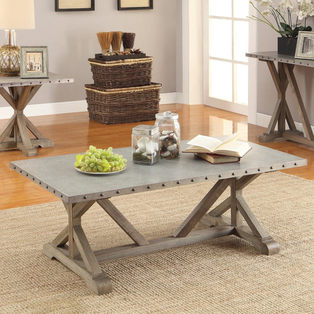 Amazon Com Coaster 703748 Home Furnishings Coffee Table Driftwood Kitchen Dining