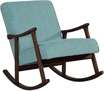 modern rocking chair nursery baby retro aqua blue fabric wood rocker mid century - Rocking Chair Nursery