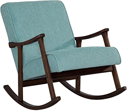 Beautiful Modern Rocking Chair Nursery Baby Retro Aqua Blue Fabric Wood Rocker Mid  Century