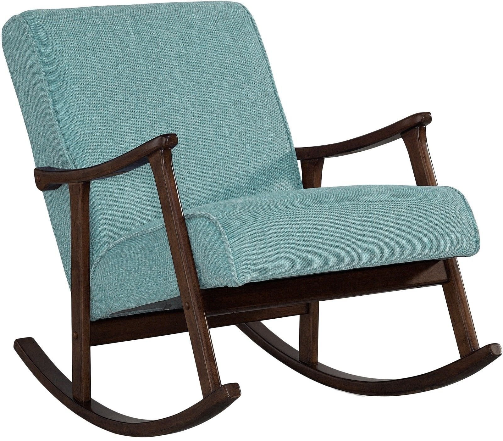 Modern Rocking Chair Nursery Baby Retro Aqua Blue Fabric Wood Rocker Mid Century