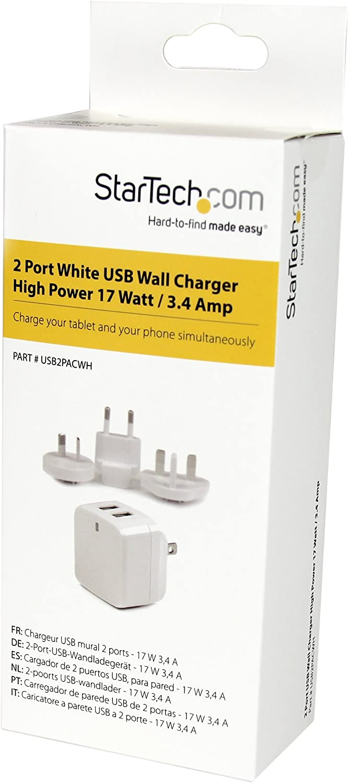 Netzteil 3.4 Amp 2-fach Ladestecker 17 Watt StarTech.com 2 Port USB Ladeger/ät 220V Dual Reiseladeger/ät 110