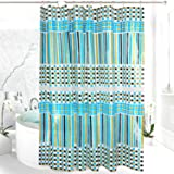 EVA Shower Curtain, Mold and Mildew Resistant,Waterproof, Anti-bacterial, Feagar 72x72 Inch,PVC Free, Non Toxic,Eco-Friendly,Odorless Stripe and Grid Bathroom Curtains Sets, Green and Blue