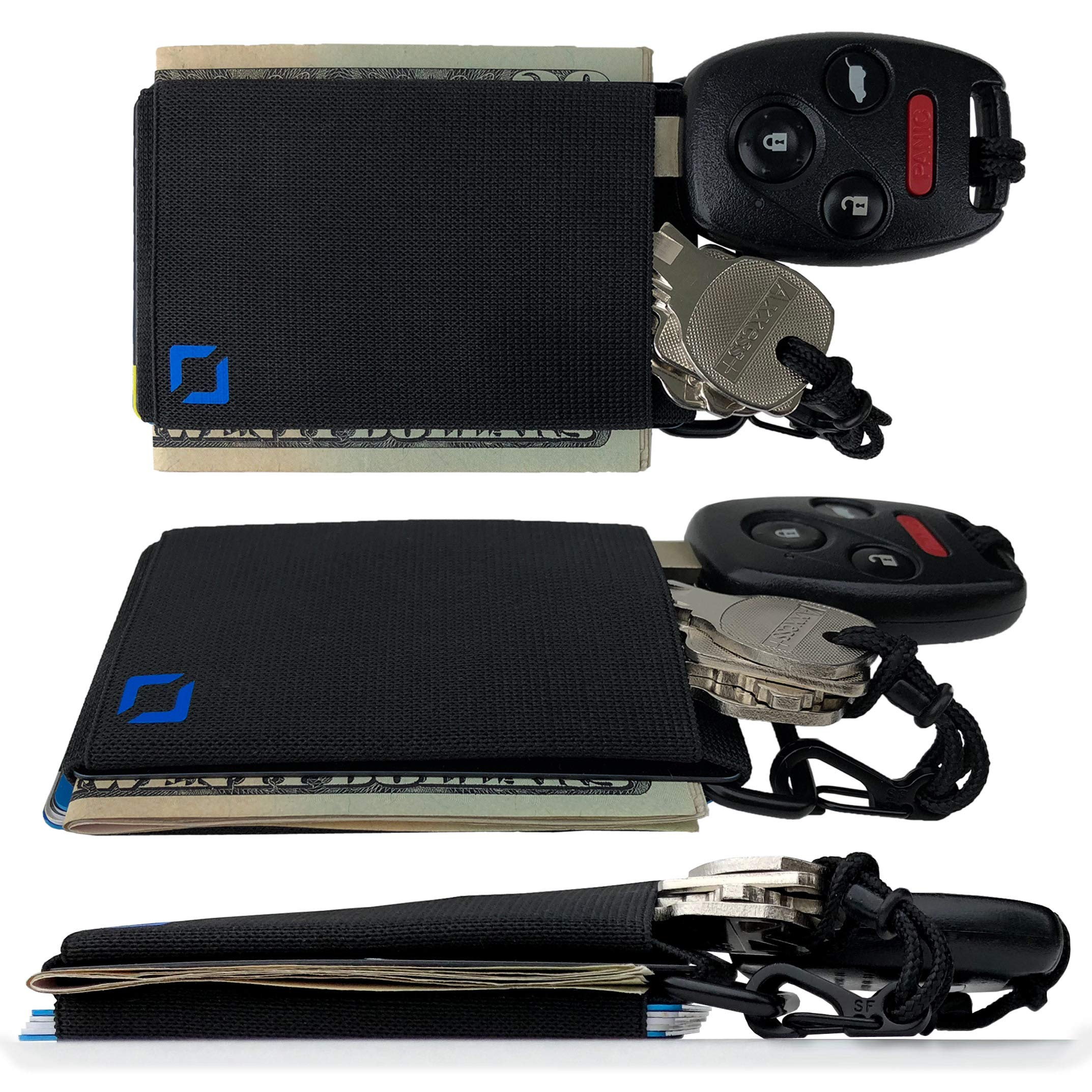 Anti-Wallet: Minimalist Front Pocket Everyday Carry for Credit Cards and Cash (Blue on Black + Key Hitch)