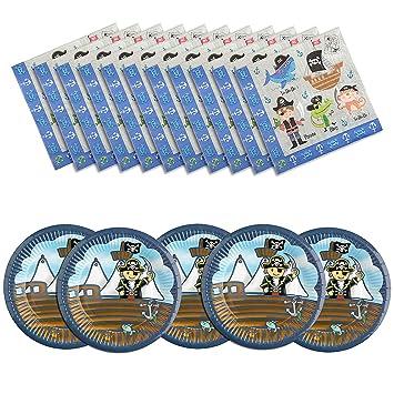 Diealles Shine Pirata Desechables Platos Cumpleaños Suministros niños Fiesta de cumpleaños (8 Platos de Papel + 16 servilletas) para niños Fiesta de ...