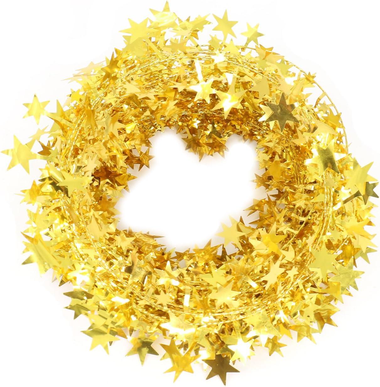Christmas decor Christmas decoration Gold garland Gold Christmas garland Christmas star garland Gold star garland