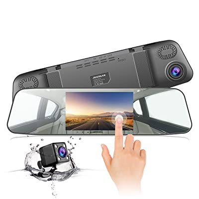 "Jeemak Backup Camera 4.3"" Touch Screen Mirror Dash Cam 1080P Rearview Front and Rear Dual Lens Dashboard Recorder with Waterproof Reversing Camera: Electronics"