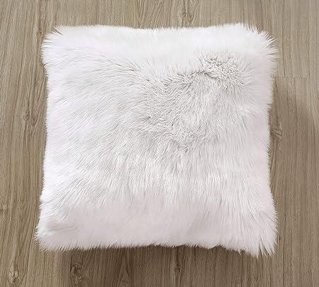 DQMEN 2Pcs Housse de Coussin 2Pcs Blanc, 45 x 45cm Fausse Fourrure Deluxe D/écoratif Canap/é Chambre Lit Super Doux Peluche Mongolie Taie doreiller