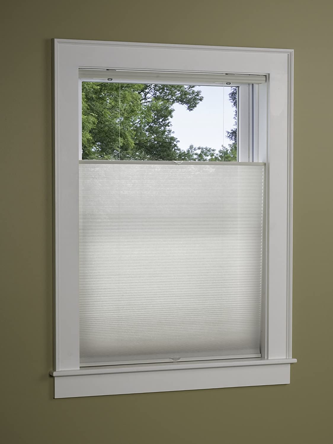 Green Mountain Vista EZ-Glide Top Down Bottom UP Cordless Pleated Cellular Shade, 34 by 64-Inch, White