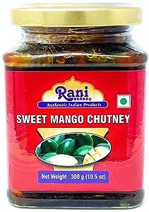 Rani Sweet Mango Chutney (Indian Preserve) 10.5oz (300g) ~ Glass Jar, Ready to eat, Vegan ~ Gluten Free, All Natural, NON-GMO