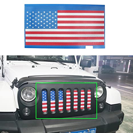 1b33288d Amazon.com: MOEBULB American Flag Steel Front Grill Insert Mesh Grille for  2007-2017 Jeep Wrangler JK 2/4 Door (without key hole): Automotive