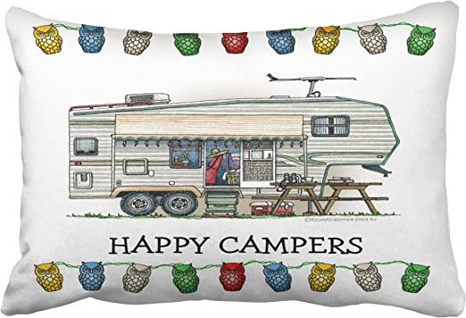 Cute Rv Vintage Fifth Wheel Camper Travel Trailer Pillows Personalized 18x18 Inch Square Polyester Throw Pillow Case Decor Cushion Cover