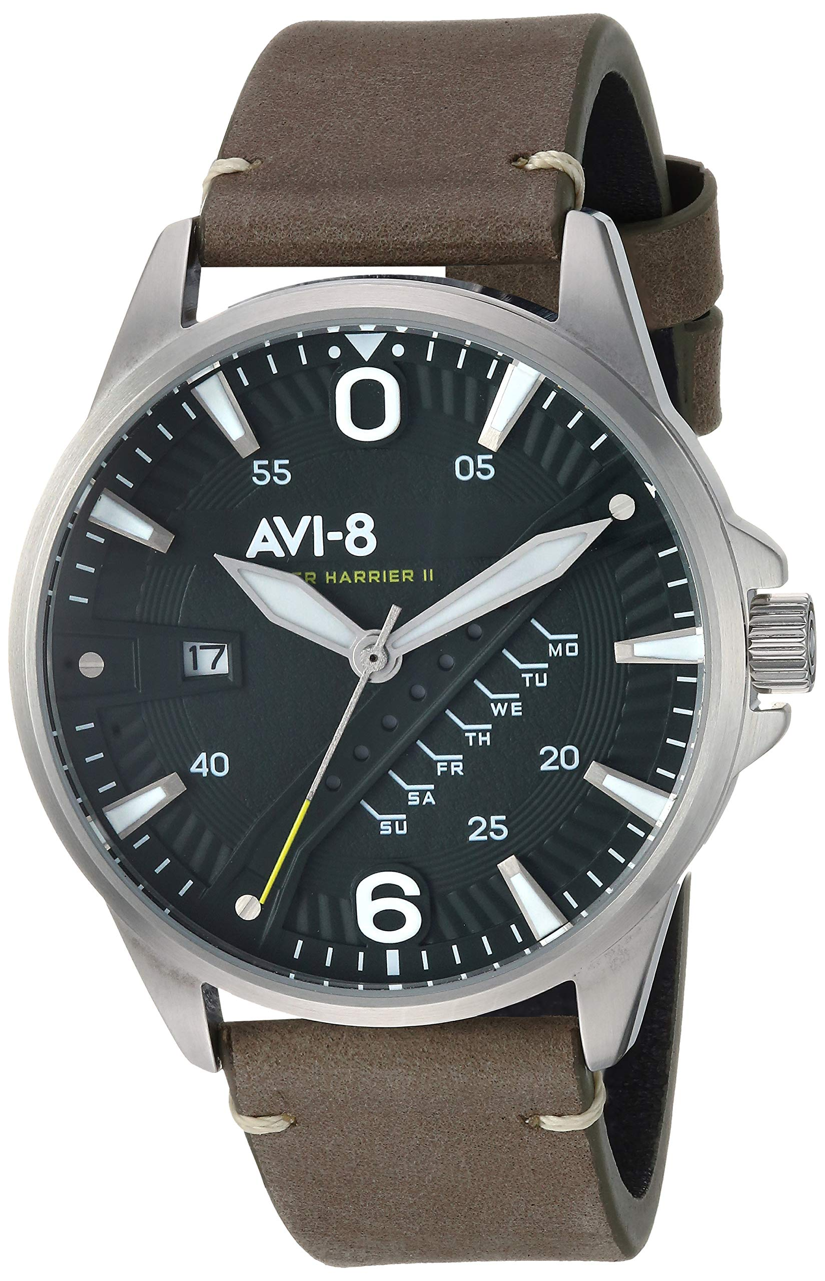 AVI-8 Men's 'Hawker Harrier II' Quartz Stainless Steel and Leather Casual Watch