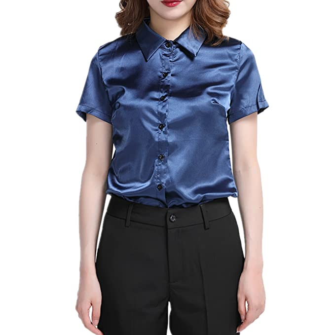 6f509743e29cf9 Image Unavailable. Image not available for. Color  YOUMU Women Faux Silk  Satin Shirt Short Sleeve Button ...