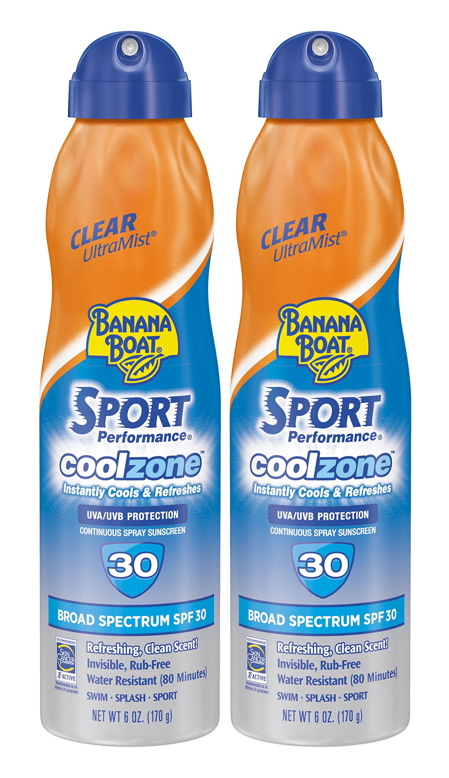 Banana Boat Sunscreen Sport Performance Coolzone, Broad Spectrum Sunscreen Spray - SPF 30-6 Ounce Twin Pack
