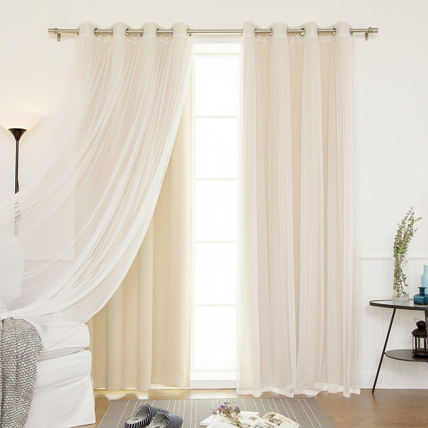 Best Home Fashion uMIXm Mix and Match Tulle Sheer Lace & Solid Blackout 4 Piece Curtain Set – Stainless Steel Nickel Grommet Top (52