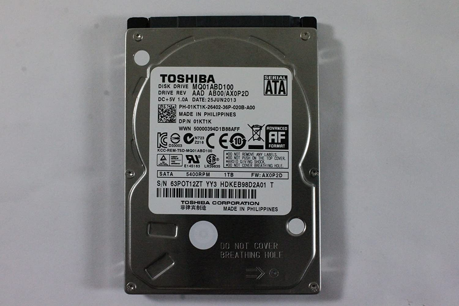 "Dell 1KT1K MQ01ABD100 2.5"" SATA 1000GB 5400 Toshiba Laptop Hard Drive Latitude E6420"