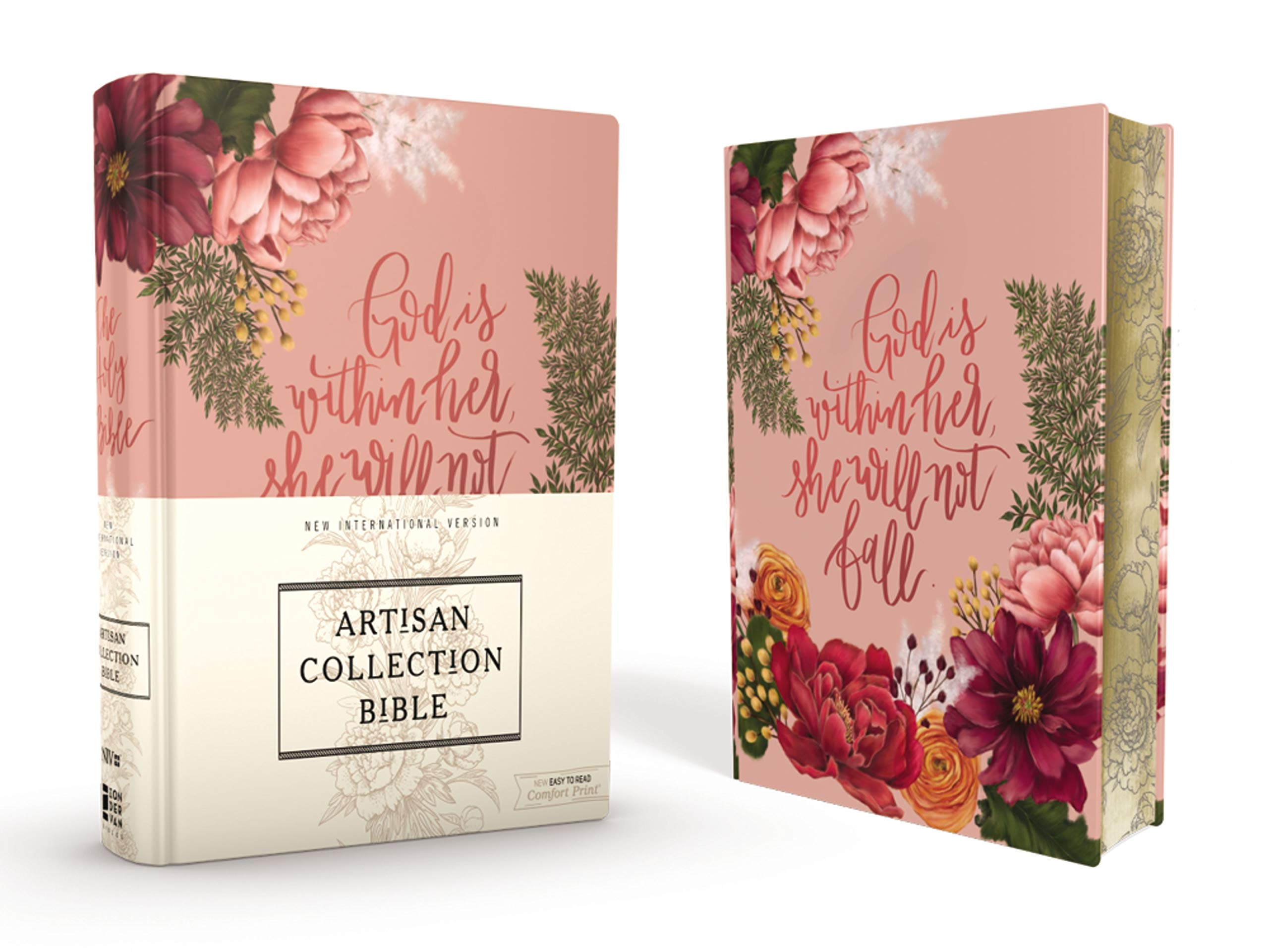 NIV, Artisan Collection Bible, Cloth over Board, Pink Floral, Designed Edges under Gilding, Red Letter Edition, Comfort Print by HarperCollins Christian Pub.