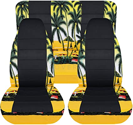 Stupendous Totally Covers Fits 1997 2006 Jeep Wrangler Tj Hawaiian Black Seat Covers Yellow W Palm Tree Full Set Front Rear 4 Prints 1998 1999 2000 Machost Co Dining Chair Design Ideas Machostcouk