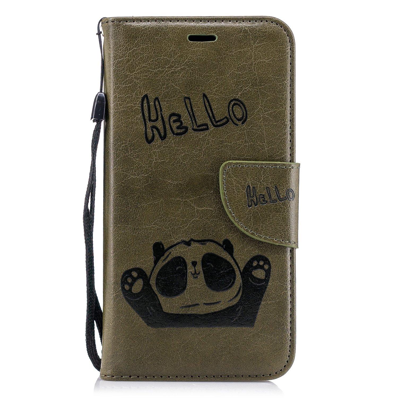 Lomogo Coque Huawei P10 Lite, Panda Housse en Cuir Portefeuille avec Porte Carte Fermeture par Rabat Aimanté Anti Choc Etui de Protection pour Huawei P10Lite - LOBFE12453 Rouge