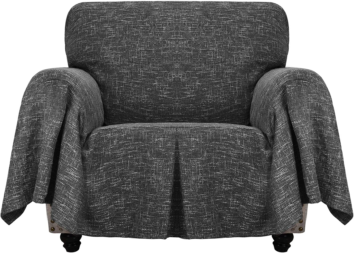 YEMYHOM Linen Chair Covers for Living Room Universal Chair Slipcovers with Arms Premium Pet Dog Armchair Slipcover Furniture Protector Magic Slip Cover with Ruffles (Chair, Charcoal Gray)