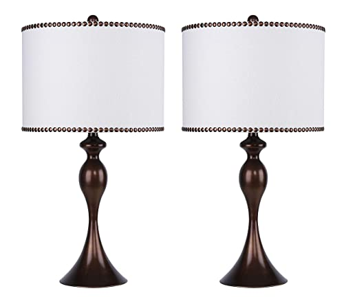 27 Dark Bronze Table Lamp Set w Off-White Linen Drum Shades