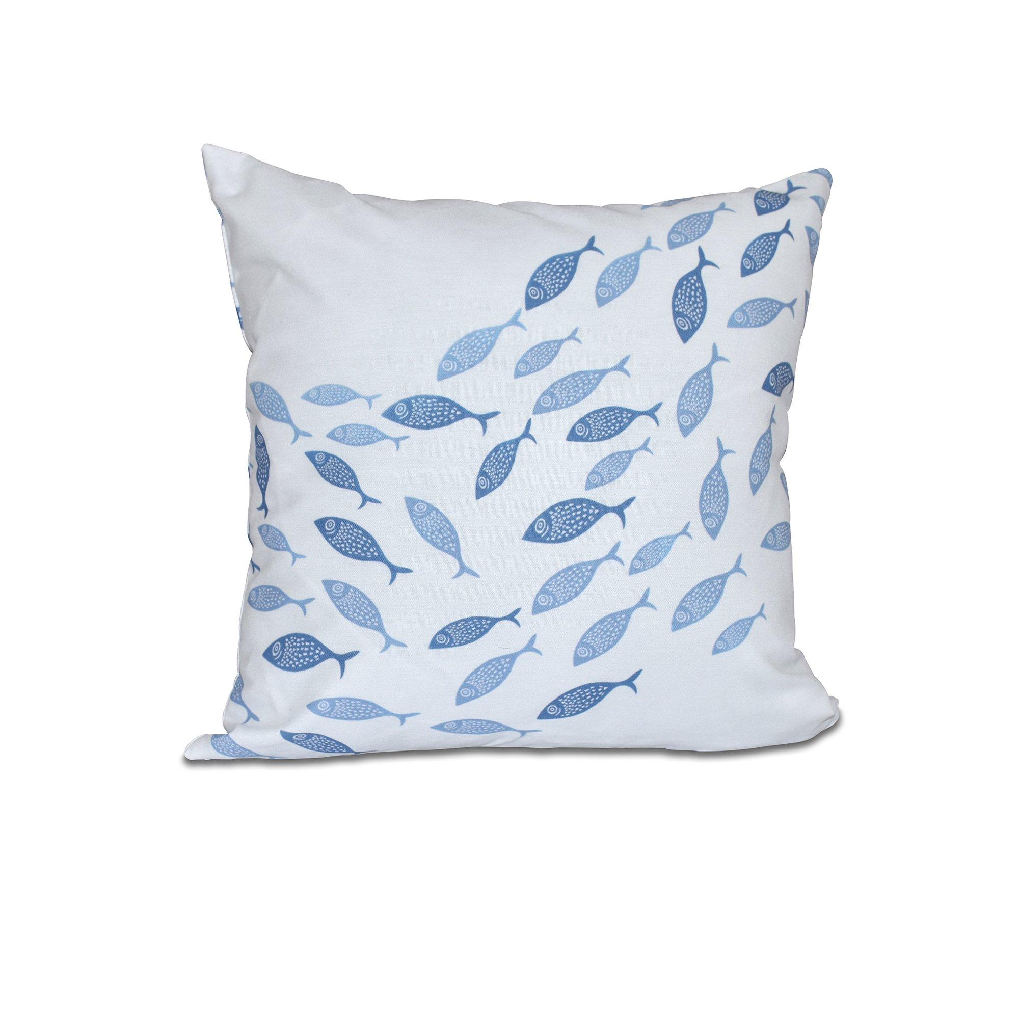 E by design O5PAN423BL15BL16-16 16 x 16 Escuela Animal Print Blue Outdoor Pillow