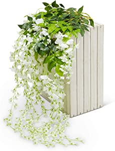 Artificial Silk Wisteria Vine Garland Flowers 12 Pack 3.6 FT-Fake Hanging Flower Wedding Home Kitchen Decor Garden Outdoor Greenery And Decorations - Floral White Faux Succulents Wall Vines Decoration