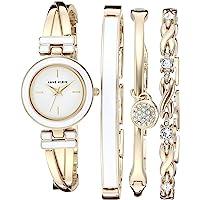 Anne Klein 女士手镯手表和施华洛世奇水晶点缀手镯套装