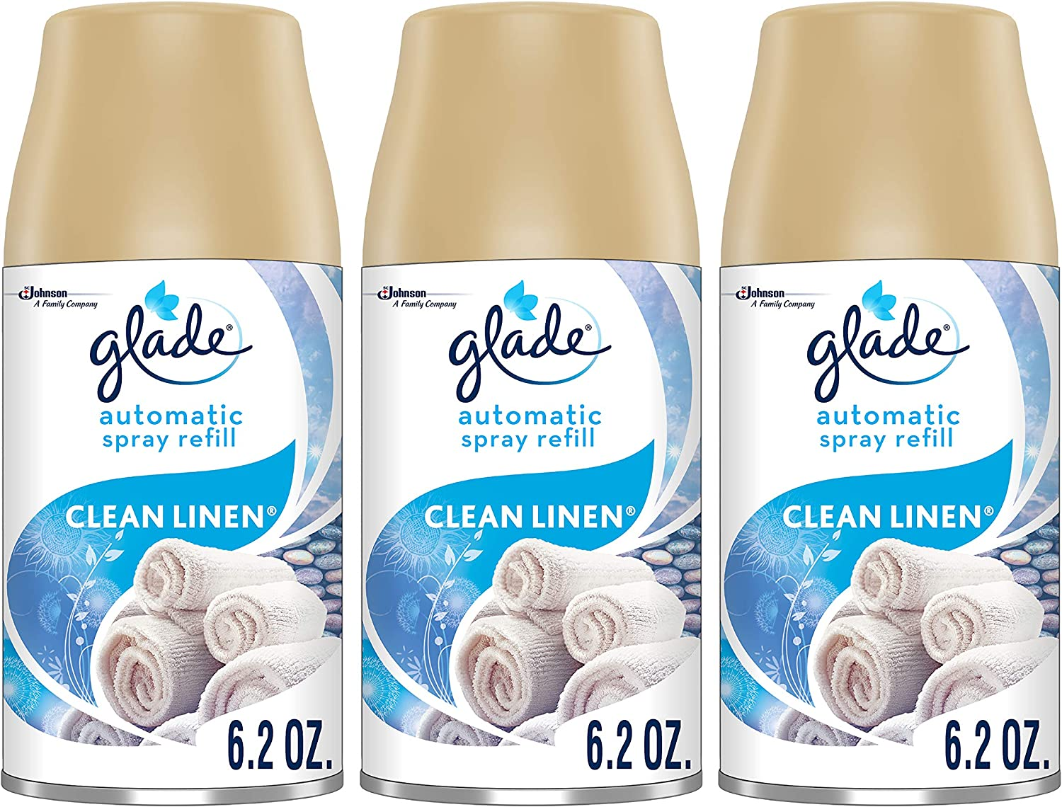 Glade Automatic Spray Refill Clean Linen, Fits in Holder for Up to 60 Days of Freshness, 6.2 oz, Pack of 3