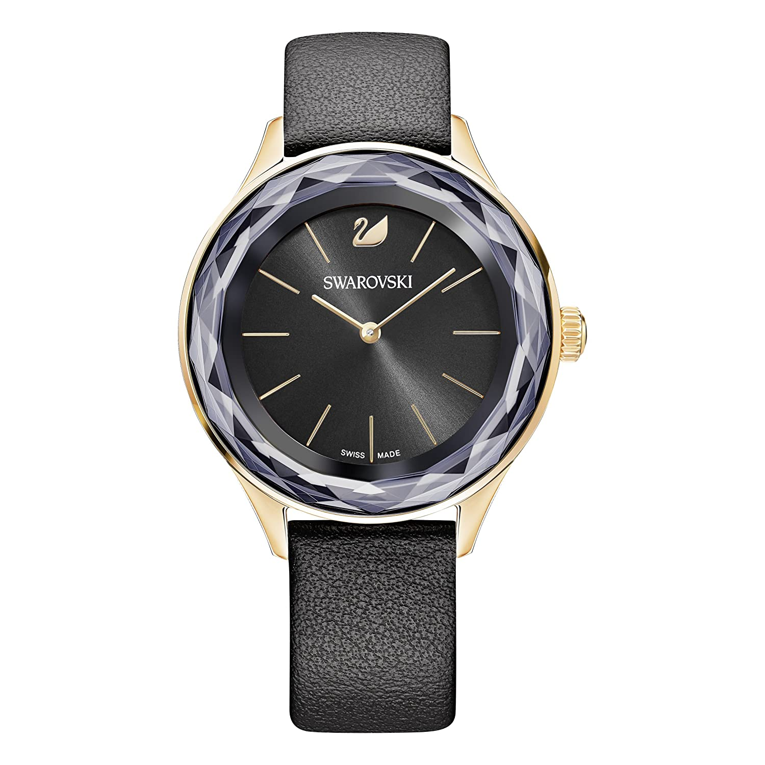 Amazon.com: Octea Nova Swarovski 5295358 watch black dial black leather strap: Watches