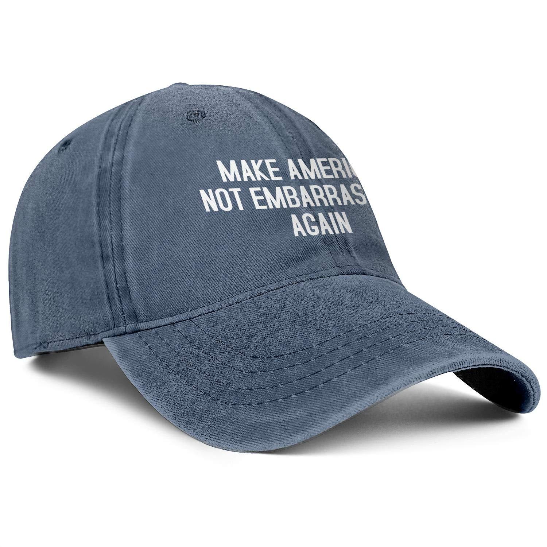 Unisex Casual Cotton Washed Flat Cap-Make America Not Embarrassing Again Design Low Profile Snapback hat Sport Cap