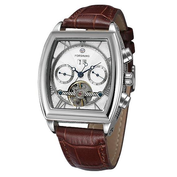 Forsining para hombre automático de reloj con calendario completo Tonneau forma piel banda reloj de pulsera