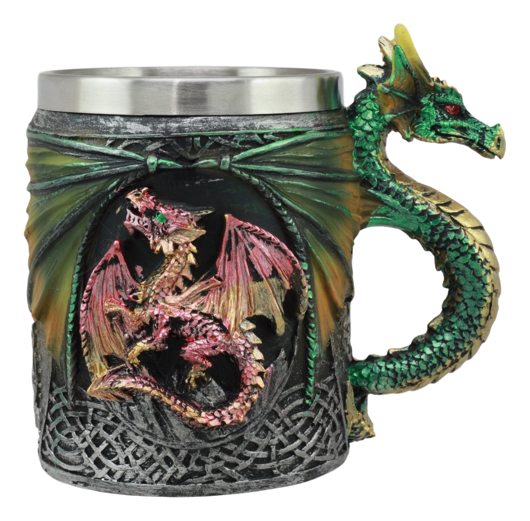 Ebros Myths And Legends The Conception Of Red Fire Oberon Dragon Beer Stein Tankard Coffee Cup Mug With Green Dragon…