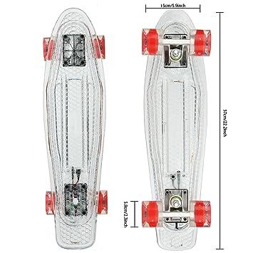 Gfone 22 quot  Cruiser Style Skateboard Cruiser Crystal Clear Board  Outdoors Fun Plastic Deck Skate Board f5948c8523d