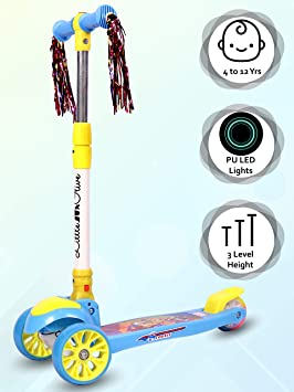 Little Olive Munchkin Scooter for Kids of 3+ Years 3 Adjustable Height, Foldable, LED PU Wheels…