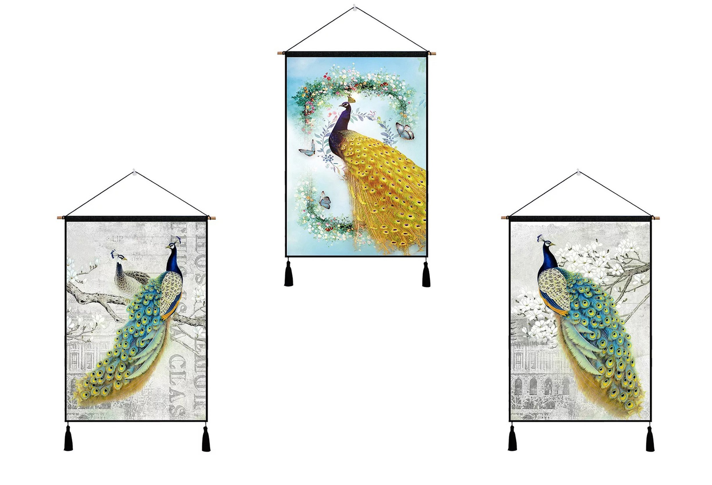 SUNSHINE EVERYDAY Compact Wall Artwork Print Hanging Tapestry Home Wall Décor Plant Road Nature Canvas with Wooden Hanging & Hooks (WD-16) by SUNSHINE EVERYDAY