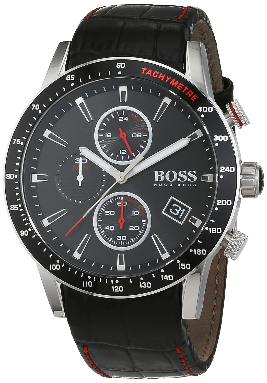 201c502ecaf2 HUGO BOSS Men s Chronograph Quartz Watch with Leather Strap - 1513390   Amazon.co.uk  Watches