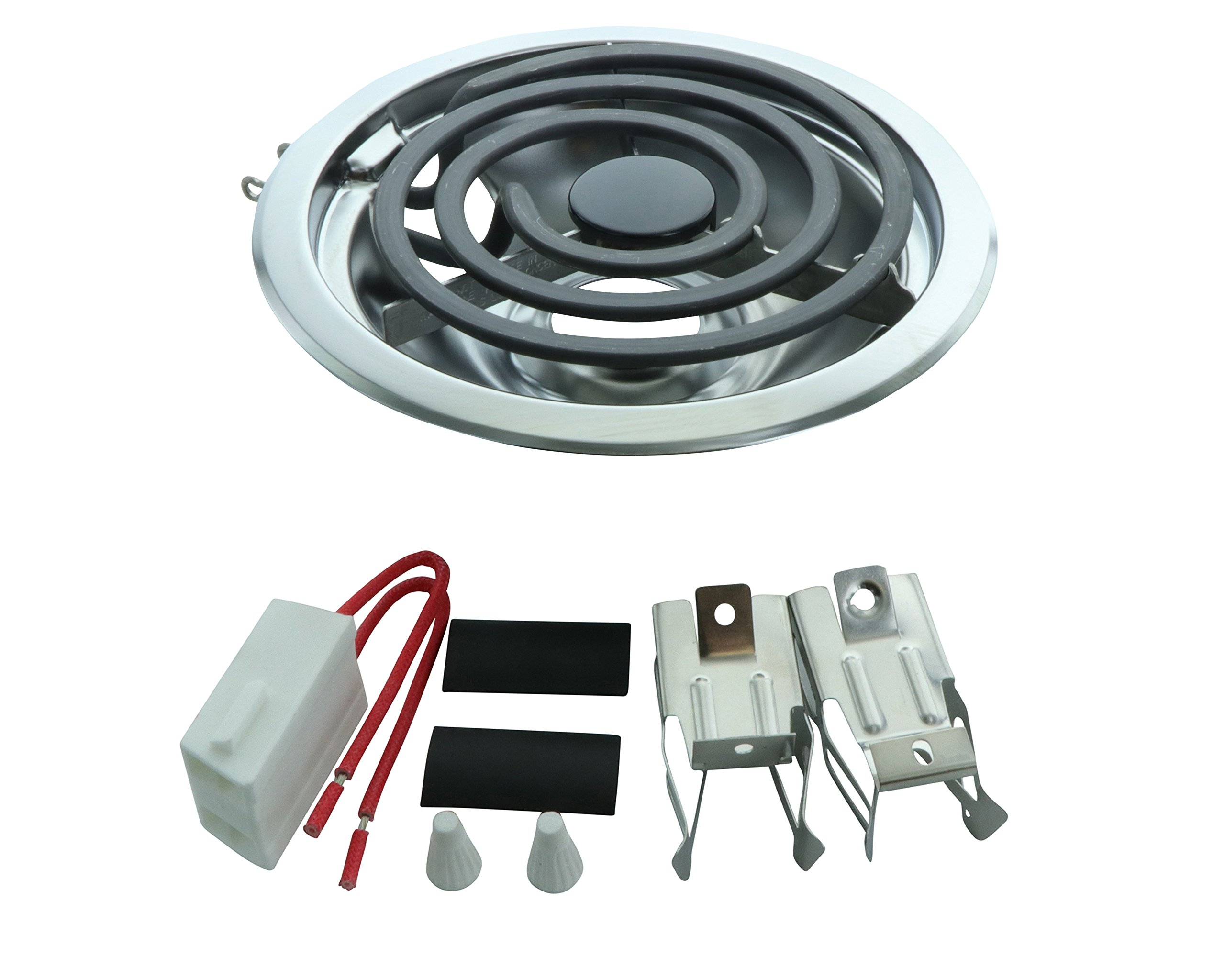 "Whirlpool Terminal Block, 3 Turn 6"" Surface Element and 6"" Chrome Drip Pan"