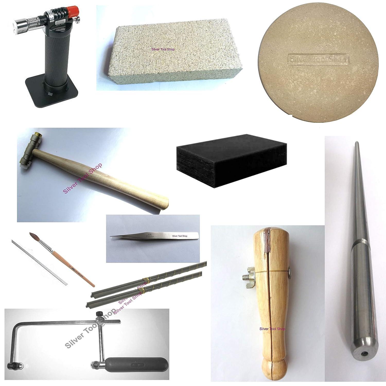 SilverToolShop Kit de iniciación para joyería de soldadura, 13 piezas, incluye linterna, plato, sierra, martillo, soldador, anillo abrazadera de ...