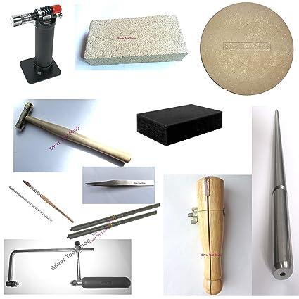 SilverToolShop Kit de iniciación para joyería de soldadura, 13 piezas, incluye linterna, plato