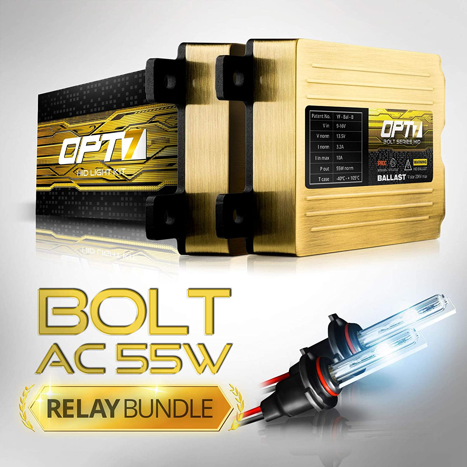 OPT7 Bolt AC 55w Hi-Power H11 (H8, H9) HID Kit - Relay Bundle - All Bulb Sizes and Colors - 2 Yr Warranty [8000K Ice Blue Xenon Light] SPOMHNK1992