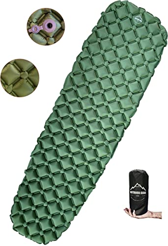 Outdoor Gear USA Camping Sleeping Pad Inflatable, Ultra-Lightweight 14.5 Ounces Air Mattress for Backpacking, Hiking, Traveling – Durable, Waterproof, Portable Compact Sleeping Mat