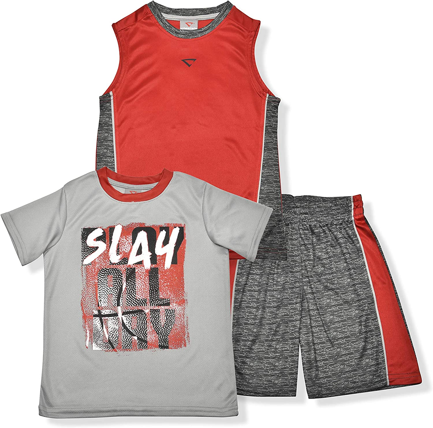 T-Shirt and Muscle Shirt Cheetah Boys 3 Piece Athletic Gym Set with Shorts