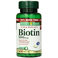 Nature's Bounty Biotin Supplement, 5000mcg, 72 Tablets (Packaging May Vary)