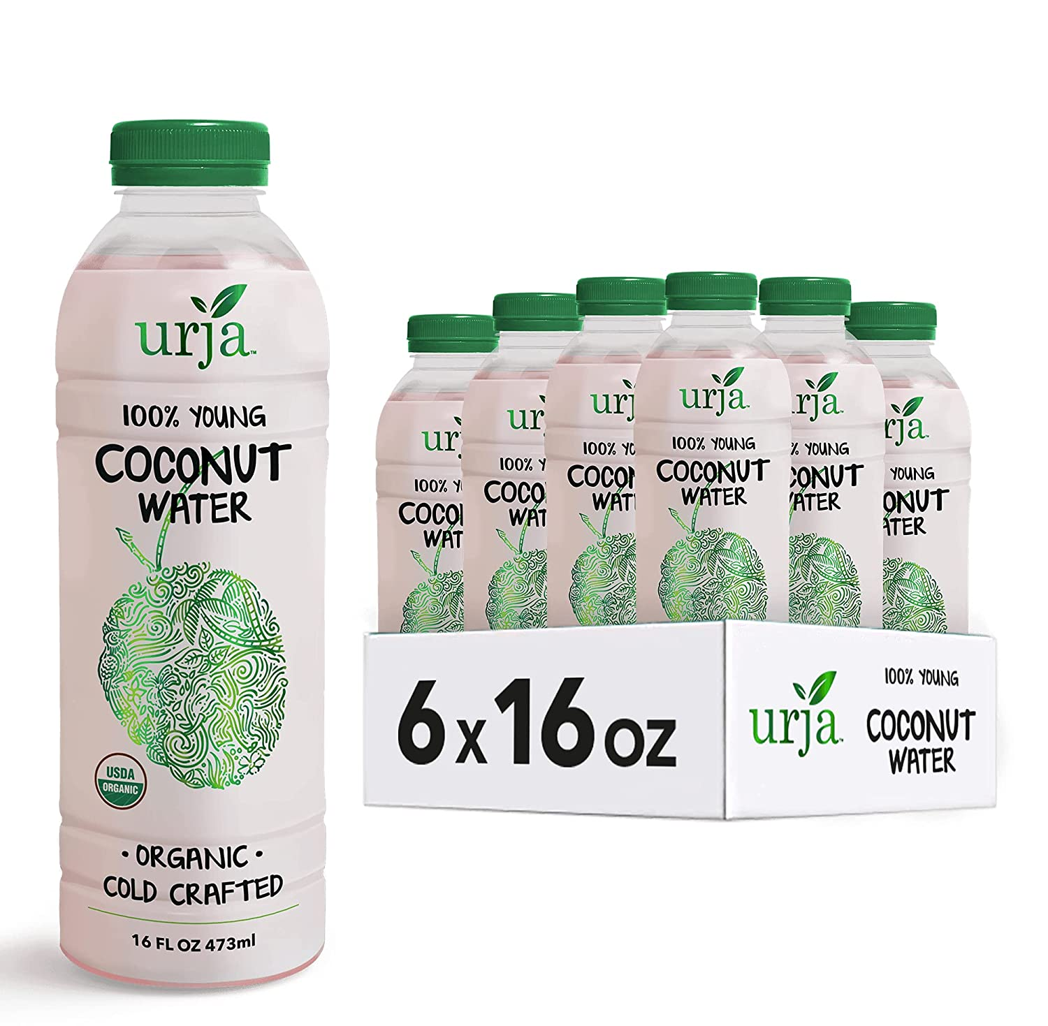 URJA 100% Cold Crafted Organic Coconut Water, No Added Sugar, Naturally less Sugar and Calories, Never Heat Treated, Natural Hydration and Energy with Electrolytes ( 6 Pack 16OZ )
