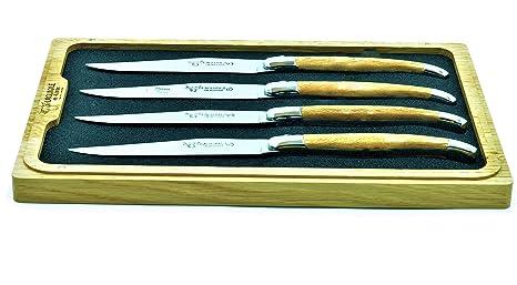 Laguiole en Aubrac Juego de 4 cuchillos hechos a mano con ...