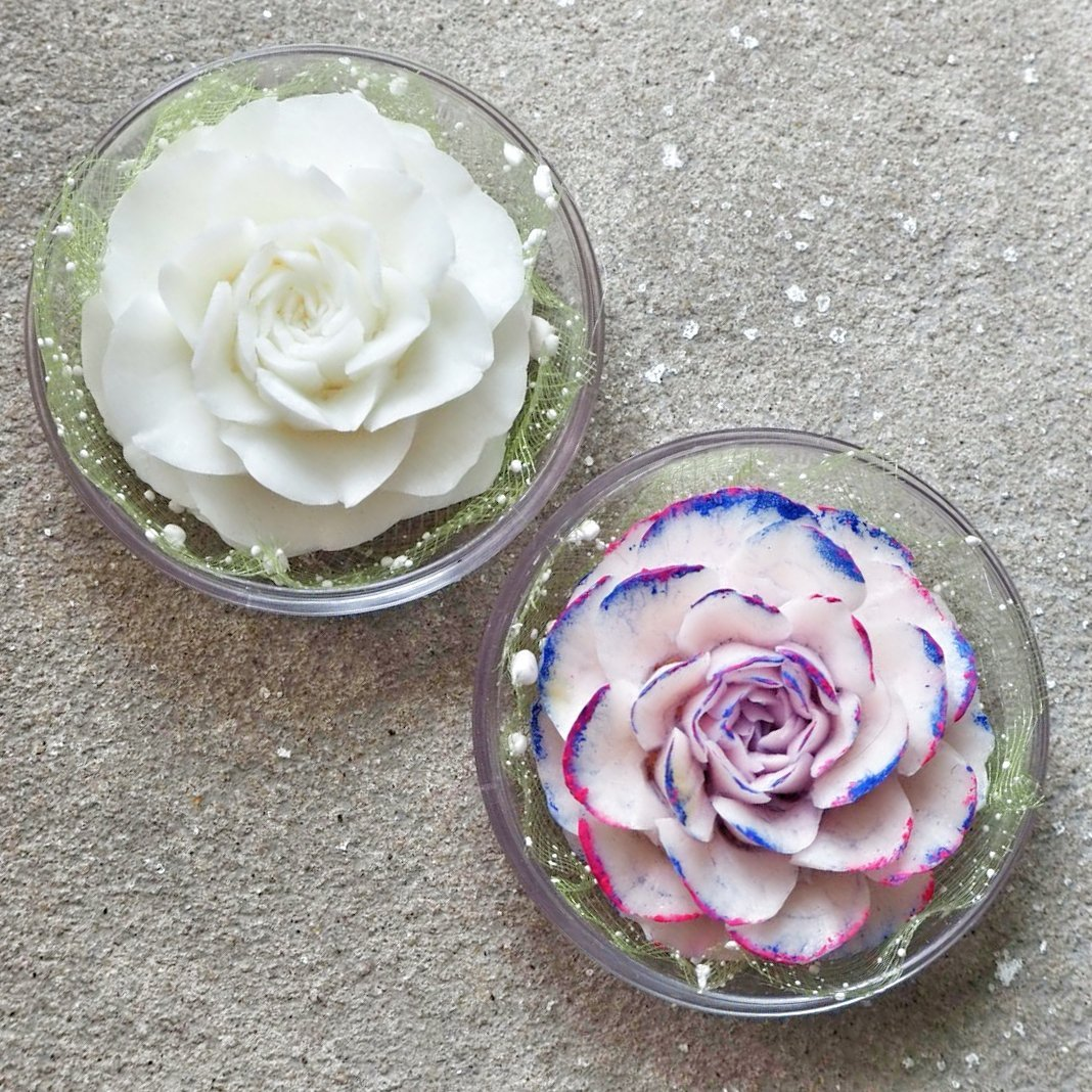 DIY Blooming Thai Rose Flower Set of 2 Hand Carved Decorative Soaps with Jasmine Aroma Essential Oil, Handmade Flower Soap Carving by Thai Artisan by BambooArtShop