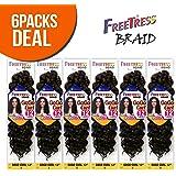 "FreeTress Synthetic Hair Crochet Braids GoGo Curl 12"" (6-Pack, 1B)"